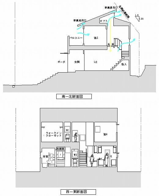 断面図 断面図  愛知県岡崎市の建築設計事務所 KANO空感設計